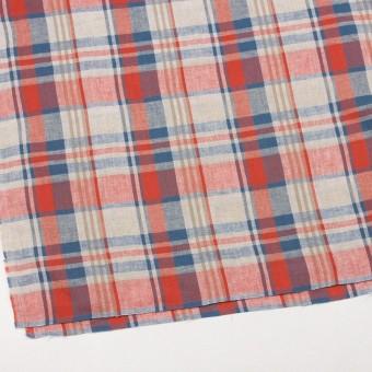 リネン&コットン×チェック(スカーレット&チョークブルー)×薄サージ_全3色 サムネイル2