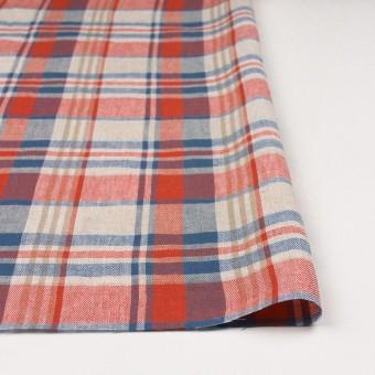 リネン&コットン×チェック(スカーレット&チョークブルー)×薄サージ_全3色 サムネイル3