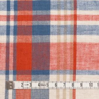 リネン&コットン×チェック(スカーレット&チョークブルー)×薄サージ_全3色 サムネイル4