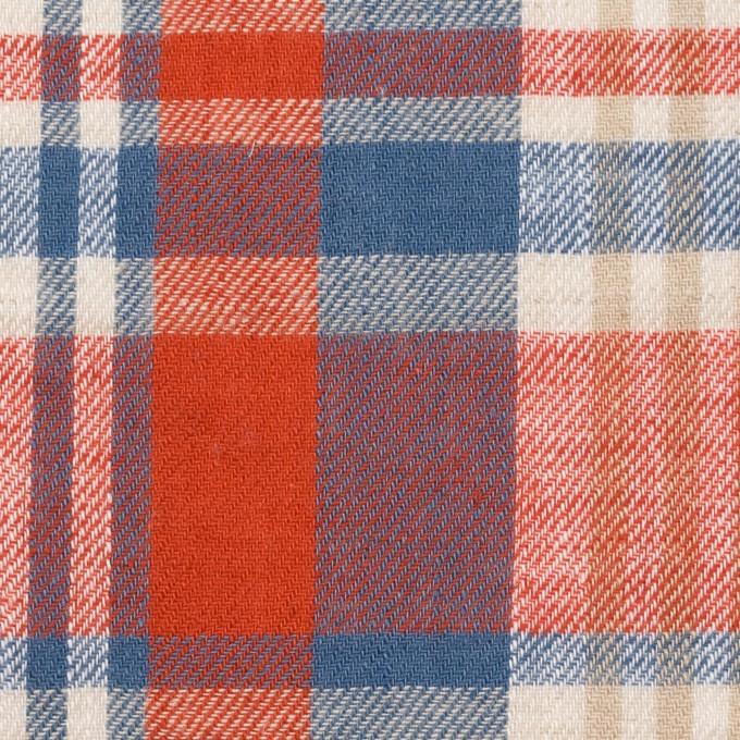 リネン&コットン×チェック(スカーレット&チョークブルー)×薄サージ_全3色 イメージ1