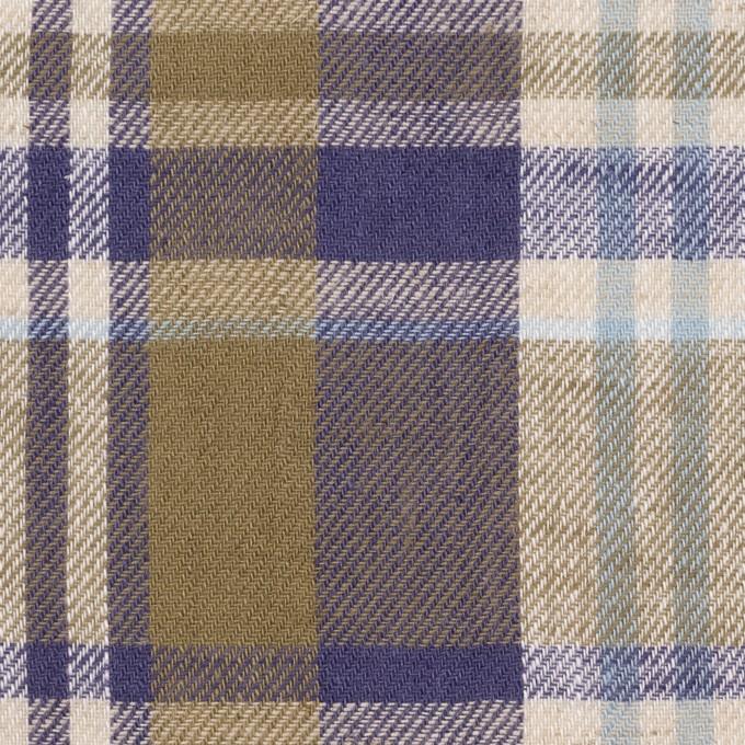 リネン&コットン×チェック(カーキ&バイオレット)×薄サージ_全3色 イメージ1