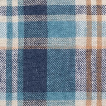 リネン&コットン×チェック(ネイビー&サックス)×薄サージ_全3色 サムネイル1