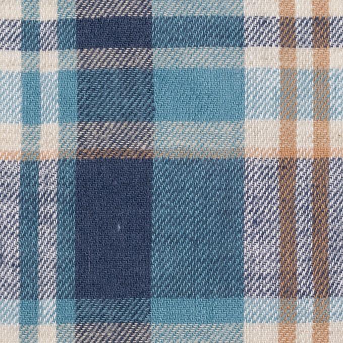 リネン&コットン×チェック(ネイビー&サックス)×薄サージ_全3色 イメージ1