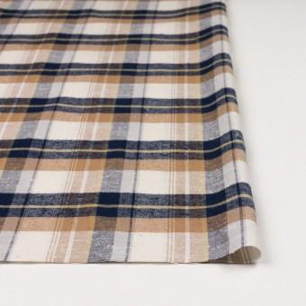 コットン&シルク×チェック(オークル&ネイビー)×薄サージ サムネイル3