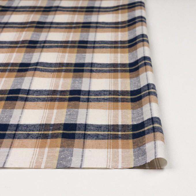 コットン&シルク×チェック(オークル&ネイビー)×薄サージ イメージ3