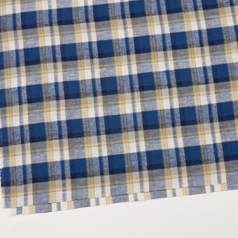コットン&シルク×チェック(カスタード&マリンブルー)×薄サージ サムネイル2