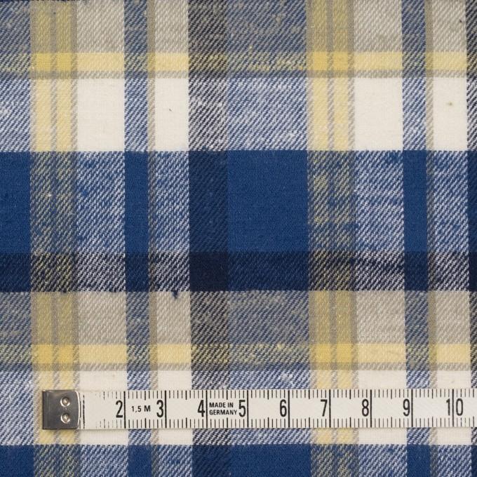 コットン&シルク×チェック(カスタード&マリンブルー)×薄サージ イメージ4