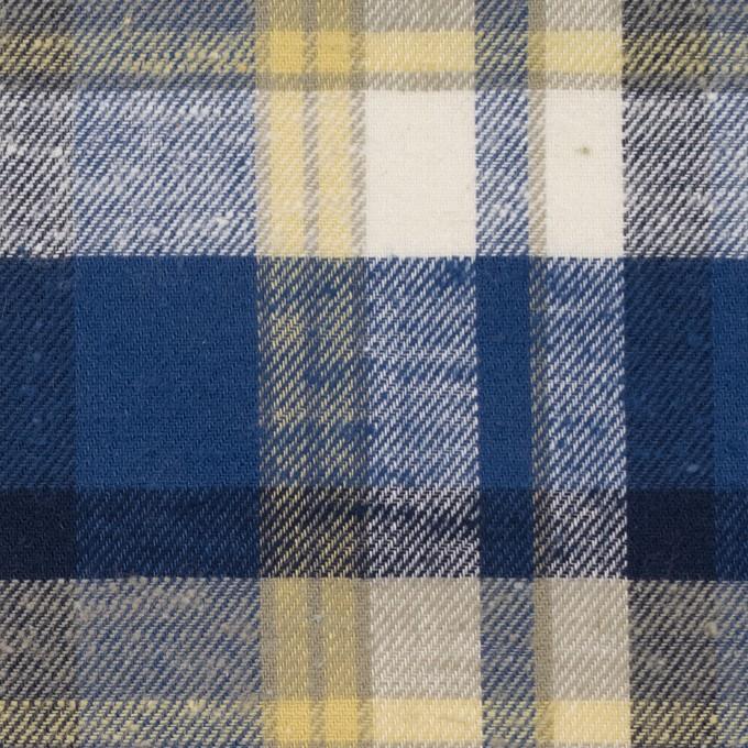 コットン&シルク×チェック(カスタード&マリンブルー)×薄サージ イメージ1