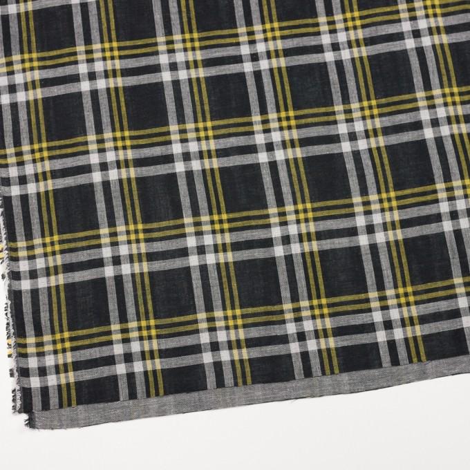 コットン×チェック(ブラック、イエロー&ホワイト)×Wガーゼ イメージ2