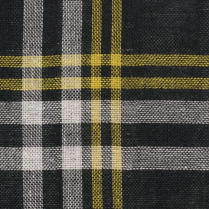 コットン×チェック(ブラック、イエロー&ホワイト)×Wガーゼ イメージ1