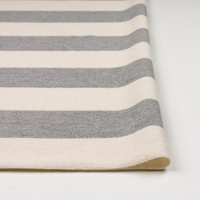 コットン×ボーダー(グレー&キナリ)×かわり編み イメージ3