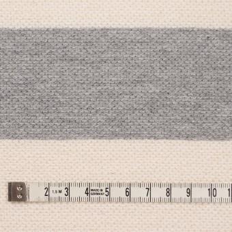 コットン×ボーダー(グレー&キナリ)×かわり編み サムネイル4