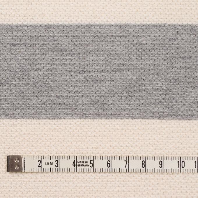 コットン×ボーダー(グレー&キナリ)×かわり編み イメージ4