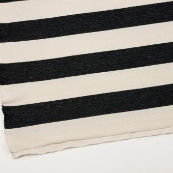 コットン×ボーダー(ブラック&キナリ)×かわり編み サムネイル2