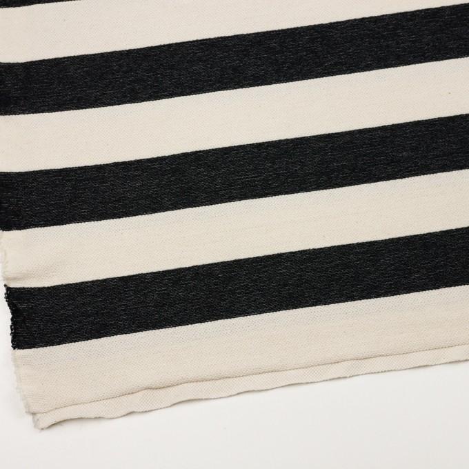 コットン×ボーダー(ブラック&キナリ)×かわり編み イメージ2