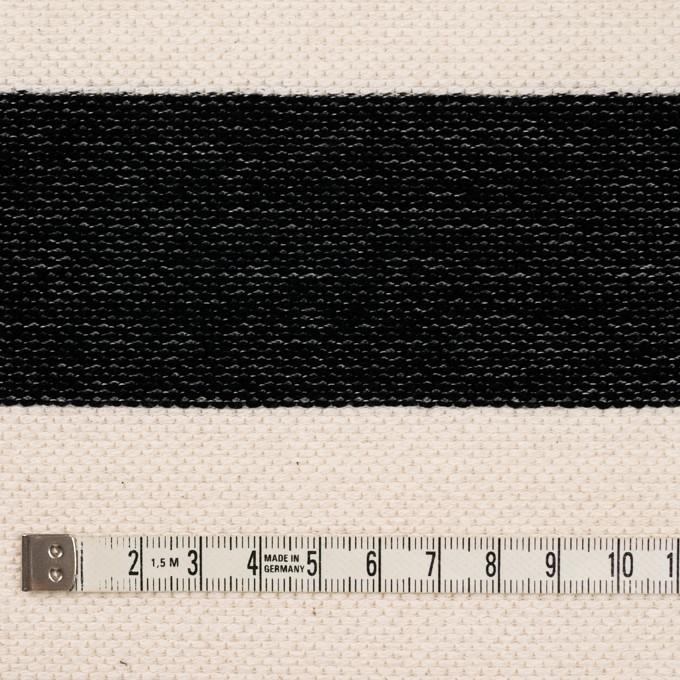 コットン×ボーダー(ブラック&キナリ)×かわり編み イメージ4