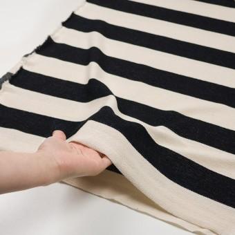 コットン×ボーダー(ブラック&キナリ)×かわり編み サムネイル5
