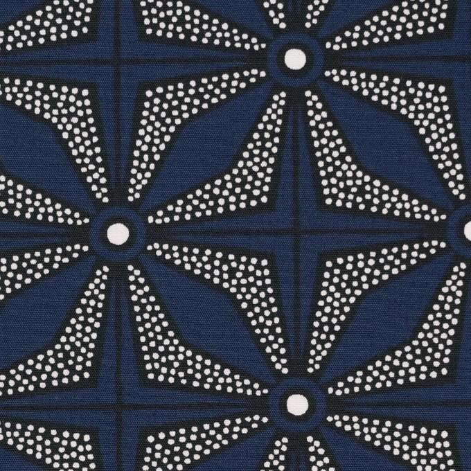コットン×幾何学模様(ネイビー)×ブロード イメージ1