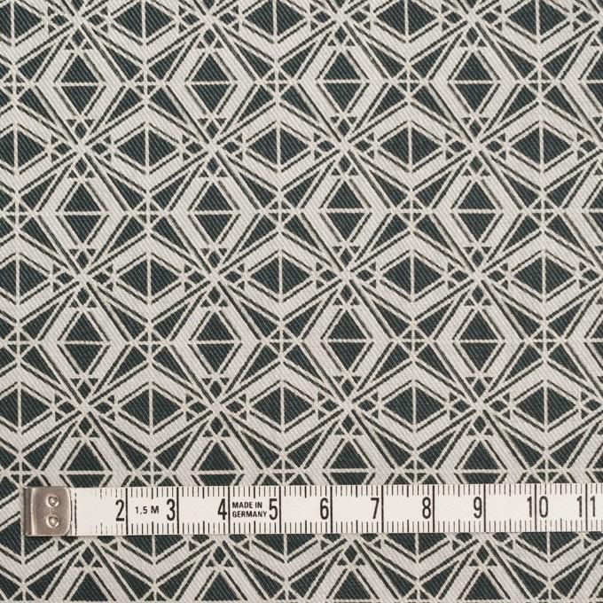 ポリエステル&コットン×幾何学模様(チャコール)×サージ_全2色 イメージ4
