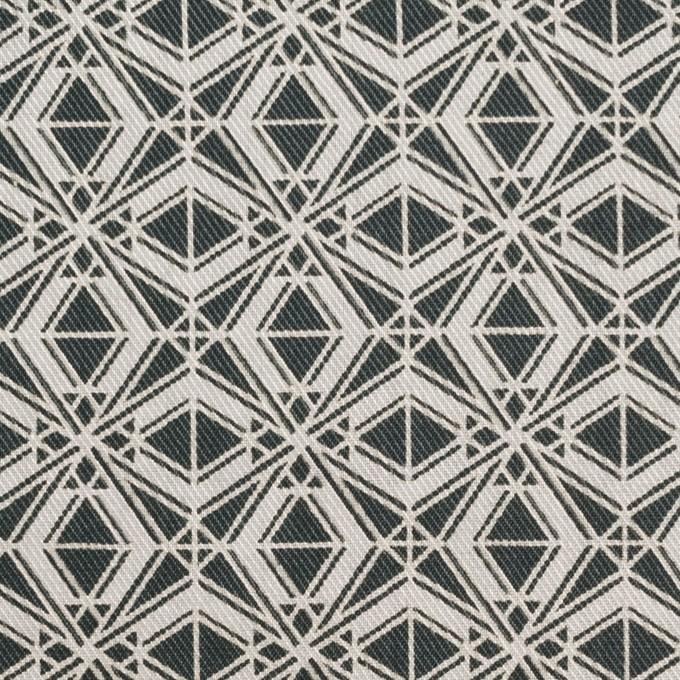 ポリエステル&コットン×幾何学模様(チャコール)×サージ_全2色 イメージ1
