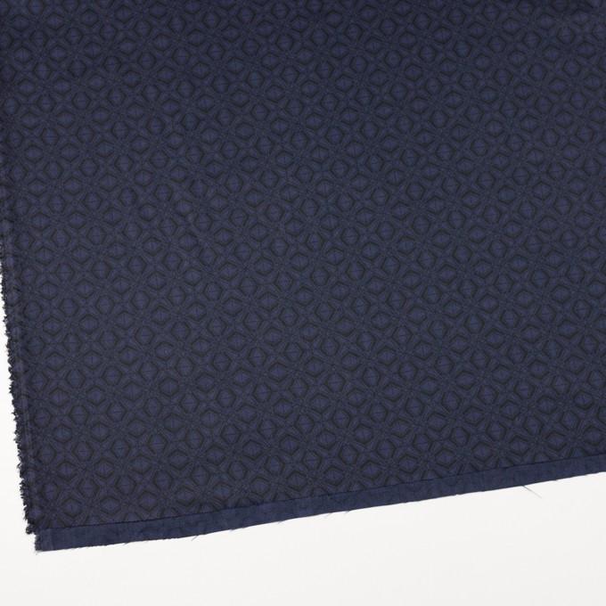 ポリエステル&コットン×幾何学模様(ネイビー)×サージ_全2色 イメージ2