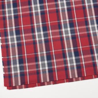 コットン×チェック(レッド、ネイビー&グレー)×斜子織 サムネイル2