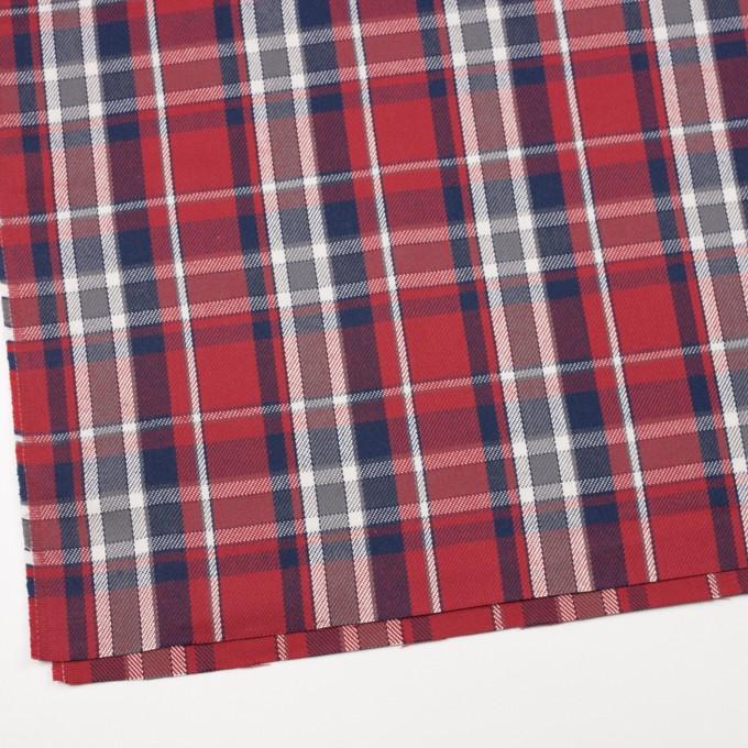 コットン×チェック(レッド、ネイビー&グレー)×斜子織 イメージ2