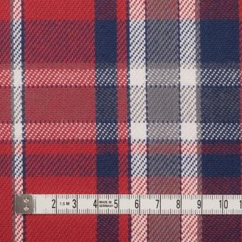 コットン×チェック(レッド、ネイビー&グレー)×斜子織 サムネイル4