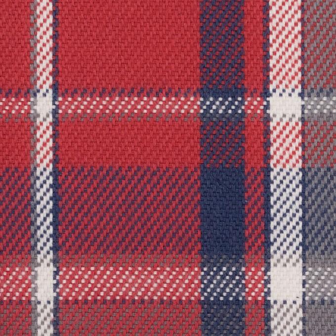コットン×チェック(レッド、ネイビー&グレー)×斜子織 イメージ1