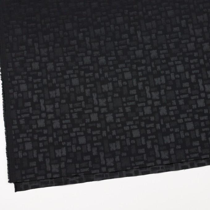ポリエステル&コットン混×幾何学模様(ブラック)×サテンジャガード・ストレッチ イメージ2
