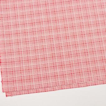 コットン&レーヨン×ミックス(レッド&オフホワイト)×斜子織_イタリア製 サムネイル2