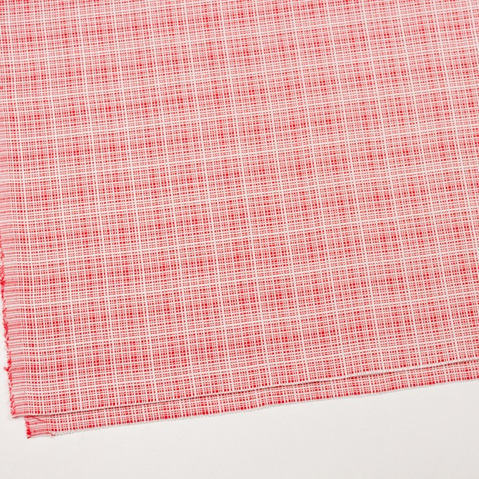コットン&レーヨン×ミックス(レッド&オフホワイト)×斜子織_イタリア製 イメージ2