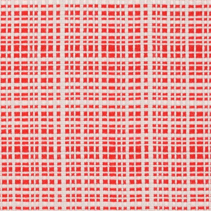 コットン&レーヨン×ミックス(レッド&オフホワイト)×斜子織_イタリア製 イメージ1