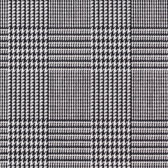 コットン&ポリエステル×チェック(ブラック&ホワイト)×かわり織&ローン(ボンディング) イメージ1
