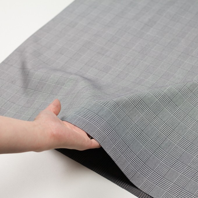 コットン&ポリエステル×チェック(ブラック&ホワイト)×かわり織&ローン(ボンディング) イメージ6