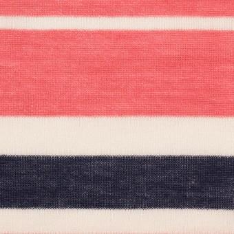 コットン&モダール×ボーダー(スカーレット&ネイビー)×天竺ニット_全2色