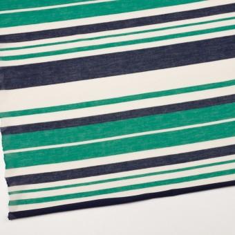コットン&モダール×ボーダー(エメラルドグリーン&ネイビー)×天竺ニット_全2色 サムネイル2