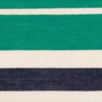 コットン&モダール×ボーダー(エメラルドグリーン&ネイビー)×天竺ニット_全2色 サムネイル1