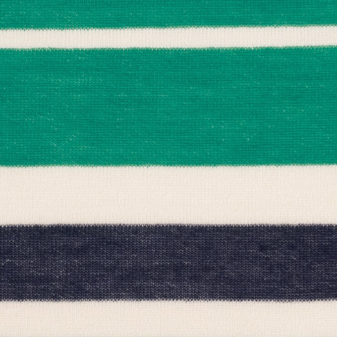 コットン&モダール×ボーダー(エメラルドグリーン&ネイビー)×天竺ニット_全2色 イメージ1