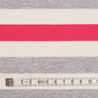 コットン×ボーダー(グレー、キナリ&ショッキングピンク)×天竺ニット_全3色_パネル サムネイル4