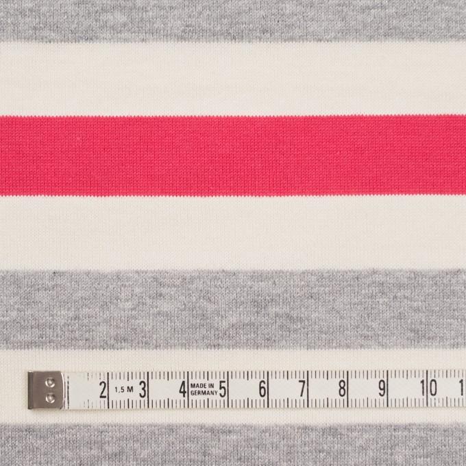 コットン×ボーダー(グレー、キナリ&ショッキングピンク)×天竺ニット_全3色_パネル イメージ4