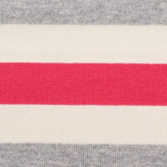 コットン×ボーダー(グレー、キナリ&ショッキングピンク)×天竺ニット_全3色_パネル サムネイル1
