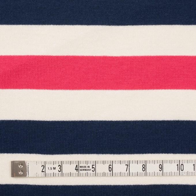 コットン×ボーダー(ネイビー、キナリ&ショッキングピンク)×天竺ニット_全3色_パネル イメージ4