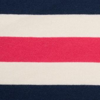 コットン×ボーダー(ネイビー、キナリ&ショッキングピンク)×天竺ニット_全3色_パネル サムネイル1