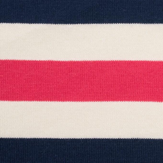 コットン×ボーダー(ネイビー、キナリ&ショッキングピンク)×天竺ニット_全3色_パネル イメージ1