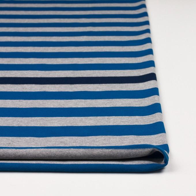 コットン×ボーダー(ブルー、グレー&ネイビー)×天竺ニット_全3色_パネル イメージ3
