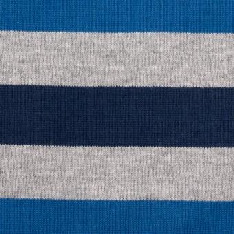 コットン×ボーダー(ブルー、グレー&ネイビー)×天竺ニット_全3色_パネル サムネイル1