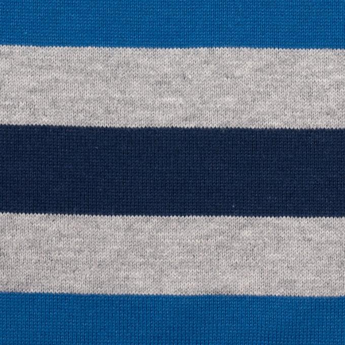 コットン×ボーダー(ブルー、グレー&ネイビー)×天竺ニット_全3色_パネル イメージ1
