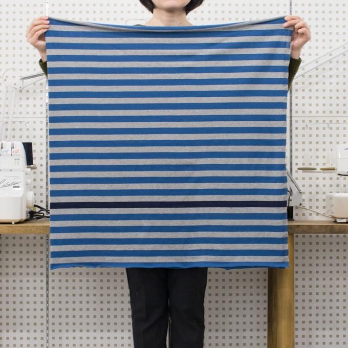コットン×ボーダー(ブルー、グレー&ネイビー)×天竺ニット_全3色_パネル イメージ6