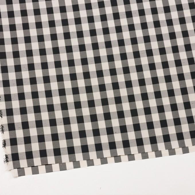 ポリエステル×チェック(キナリ&ブラック)×形状記憶シャンタン イメージ2